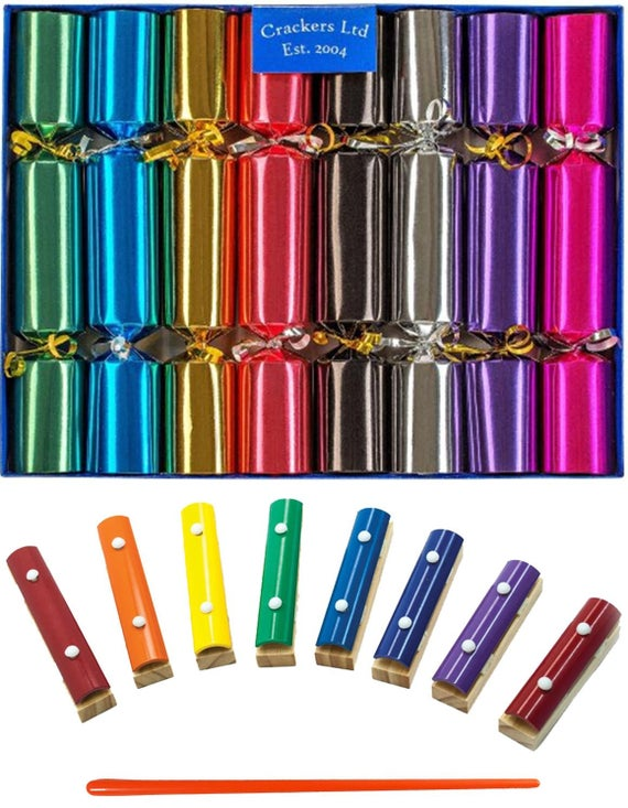 Musical Christmas Crackers with Mini Xylophones - Bright Metallic Family Christmas Crackers