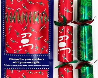 Set of 12 Flat Pack Make Your Own Christmas Crackers Christmas Joy in Green and Red
