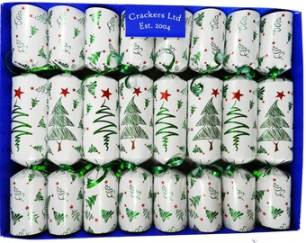 Fill Your Own Christmas Crackers - Box of 8 crackers - Christmas Trees Design
