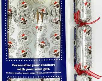 Set of 12 Flat Pack Make Your Own Silver Christmas Crackers Christmas Pugs Design
