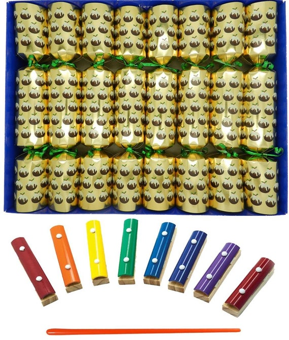 Musical ChristmasCrackers with Mini Xylophones - Christmas Pudding Christmas in Gold