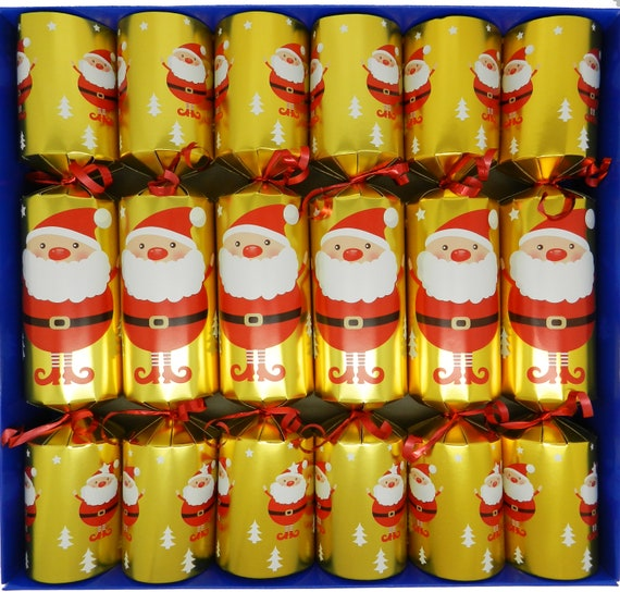 Set of 6 Fill Your Own Festive Santa Christmas Crackers in Gold