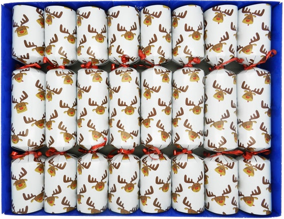 8  Reindeer Family Christmas Crackers in White