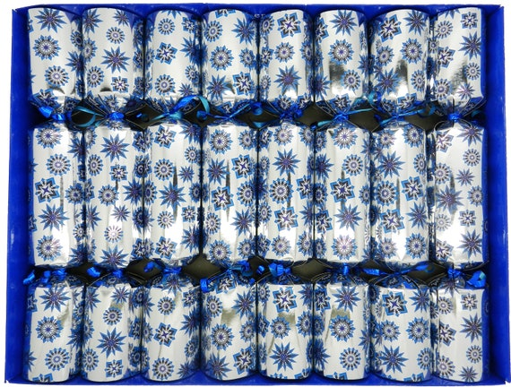 8 Blue Snowflake Family Christmas Crackers in Silver