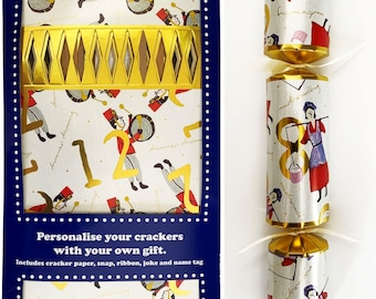 Set of 12 Flat Pack Make Your Own Christmas Crackers The 12 Days of Christmas Design