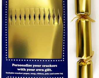Set of 12 Flat Pack Make Your Own Gold Christmas  Crackers