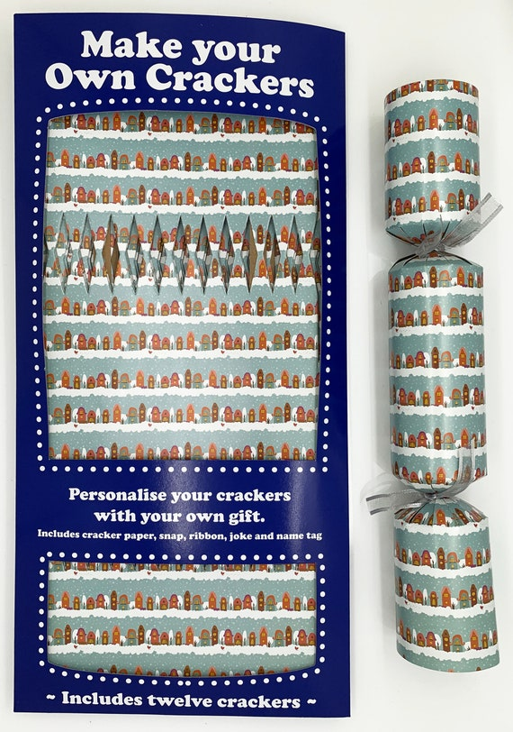 Set of 12 Flat Pack Make Your Own Christmas Crackers Snowy Christmas Street Design