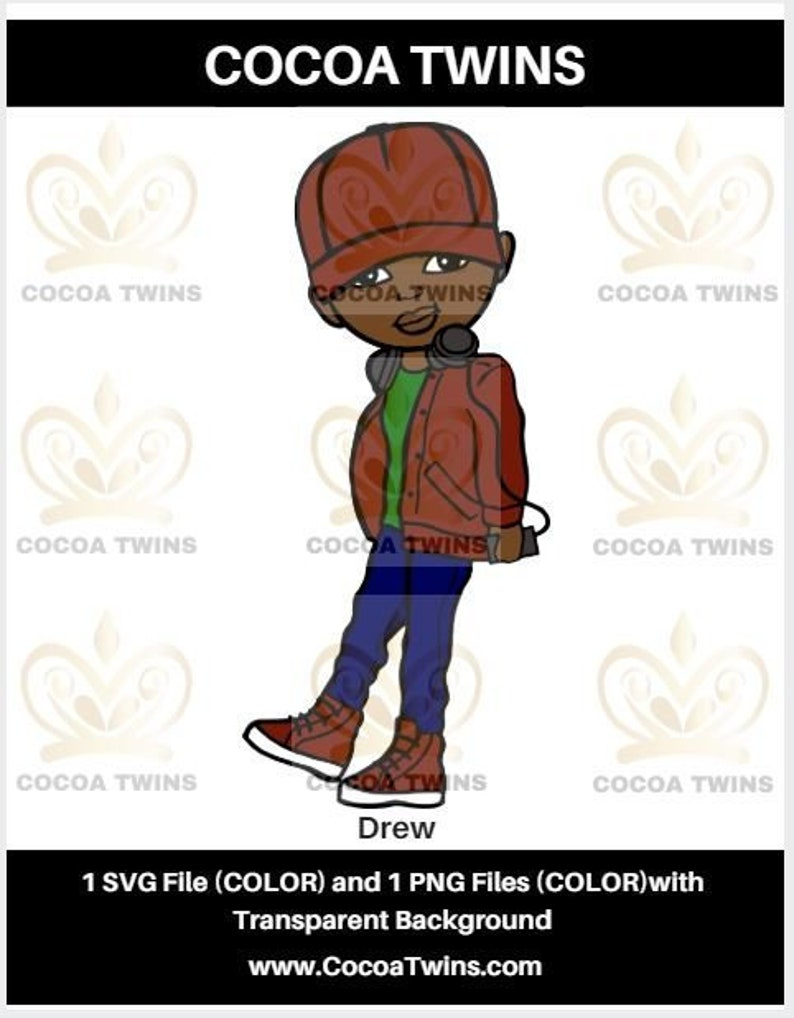 Drew By Cocoa Twins Exclusiveoriginal African American Svg Etsy