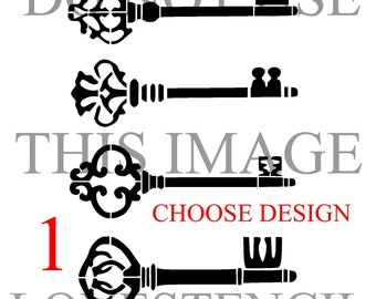 vintage keys stencil 1 up to 33 inches craft fabric wall