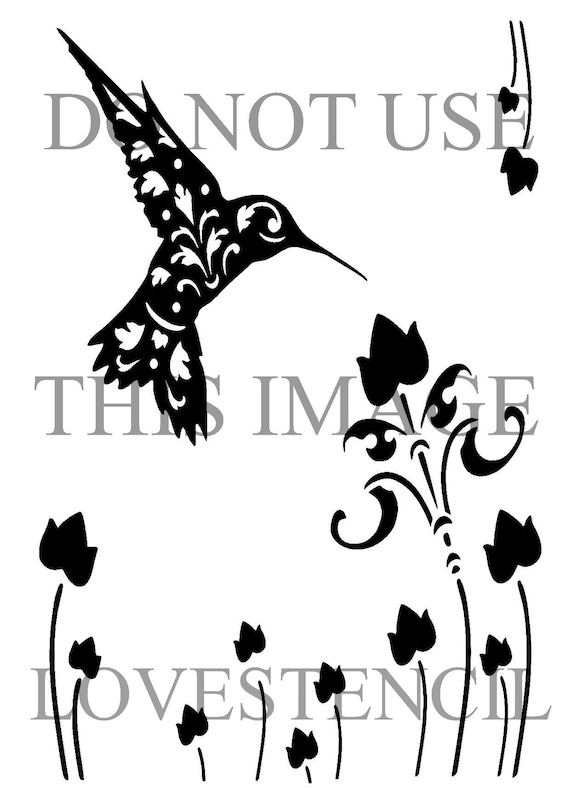 11 7 16 5 vintage hummingbird stencil and template a3 etsy