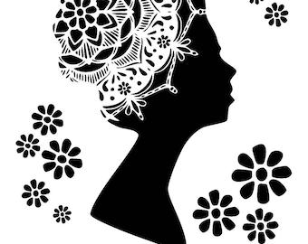 """6/6"""" flower mandala lady stencil."""