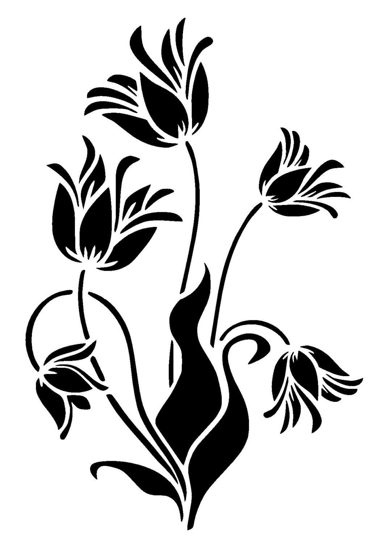 66 Lilly Flower Stencil Etsy