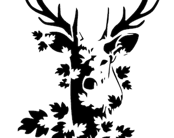 "5.8/8.3"" stag head stencil 1 craft,fabric,glass,furniture,wall art A5"