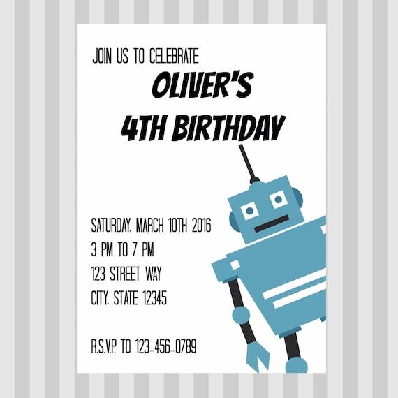 robot birthday party robot party invitation boy birthday etsy