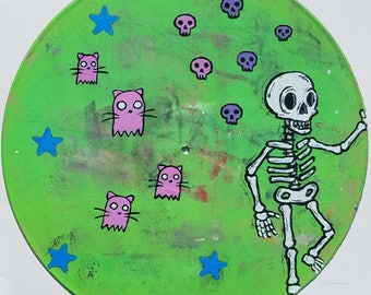 Original Art on 12 inch Vinyl - Acrylic Painting - Lowbrow art - Skeleton - Vinyl Art