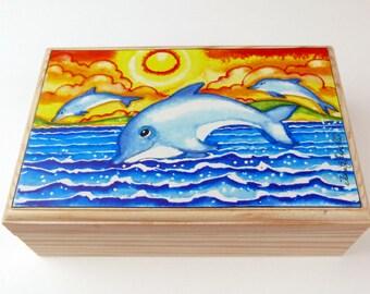 Dolphin Jewellery Box,Dolphin Keepsake Box,DolphinJewellery Box,nursery decor,Childrens gift,Folk Art,Home Decor, Home gift,Whimsical art.