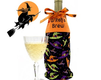 Halloween Wine Gift Bag, Embroidered Bag, Witch's Brew, Gift for Wine Lover, Wine Carrier, Wine Tote, Wine Caddy, Wine Holder, Witchcraft