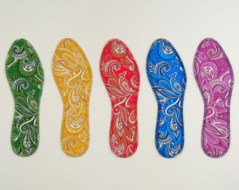 417979b4d78ce2 Paisley - Washable Insoles - 100% Absorbent Cotton Face - Stiff Poly  Backing - Reinforced Stitching - Thin