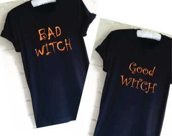 44ff342b SET - Good Witch Shirt. Bad Witch Shirt. Friends Shirts. Matching Shirts.  Funny Halloween Shirt. Witch Shirts. Twin Shirts. Gift for Sisters
