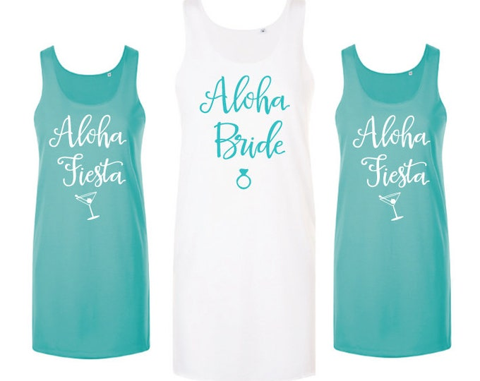 Featured listing image: Aloha Bachelorette Party Dress | Aloha Bride | Beach Dress | Beach Bachelorette | Hen Party | Beach Cover Up | Tank Dress | Wedding Party |