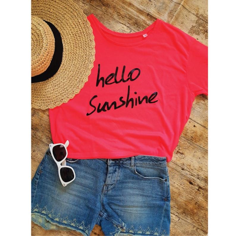 ee2b4eb7732 Hello Sunshine. Cropped Tee. Vacation Shirt. Summer Tee.