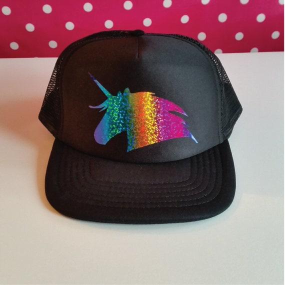 f3f76c7a48f Unicorn Trucker Hat. Unicorn Hat. Unicorn Party Hat. Rainbow