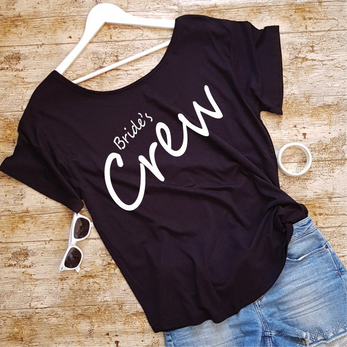 04e46b620 Bride's Crew Bachelorette Party Shirts. Oversized Off The Shoulder Shirt.  Hen Party Shirts. Hen Do. Wedding Party. Bridal Shower Shirts