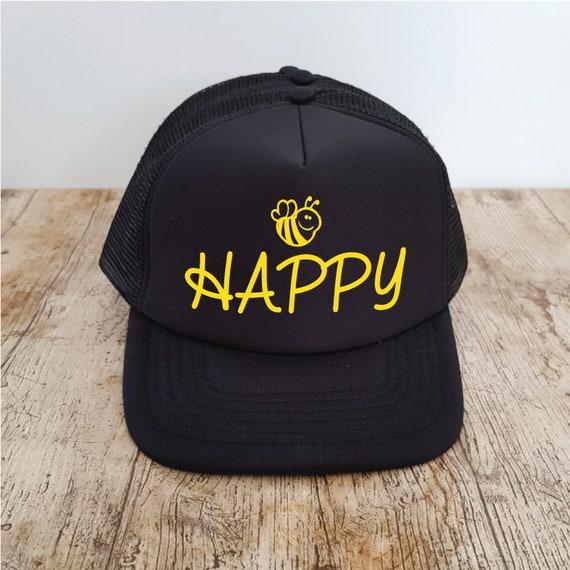 3f20cb14104a4 Bee Happy Hat. Bee Hat. Trucker Hat. Honey Bee. Bumble Bee. Be