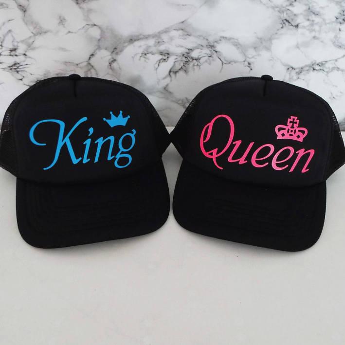 93fd21ea8 King and Queen Trucker Hats. Set of Wedding Caps. Anniversary Gift ...