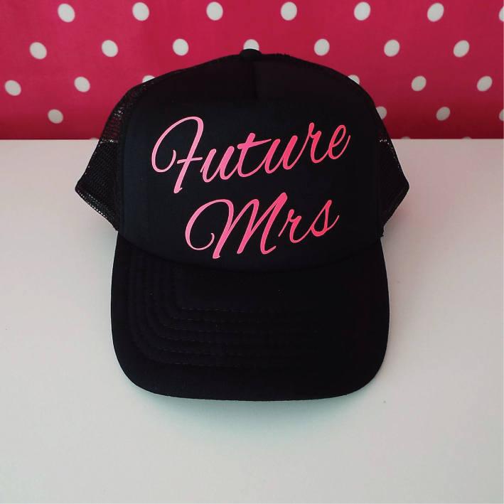 ac6f14a7090 Future Mrs Trucker Cap. Bride Hat. Bride Gift. Bachelorette Party Hat ...
