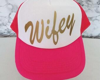 Wifey Trucker Cap. Wifey Hat. Wifey Cap. Bridal Shower Gift. Bride Gift. Honeymoon Gift. Mrs Cap