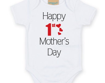 Happy 1st Mother's Day Baby Bodysuit. Cute Baby Grow. Mothers Day Baby Grow. Mother's Day Baby Gift. Gifts for Moms.