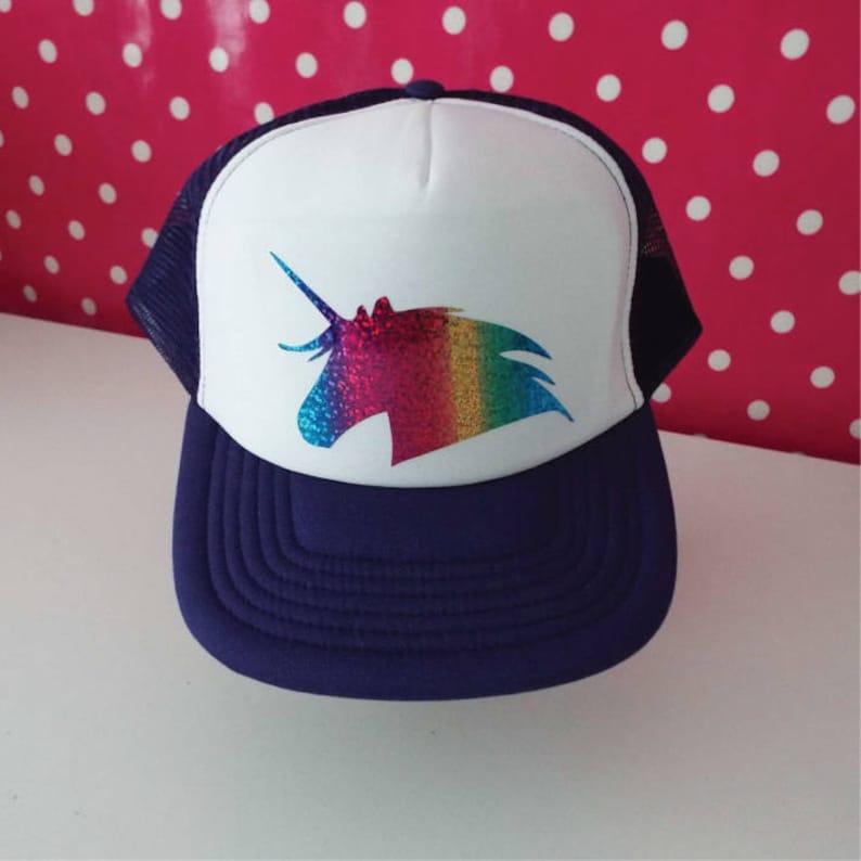 d7a93b1a Unicorn Trucker Hat. Unicorn Hat. Unicorn Party Hat. Rainbow | Etsy