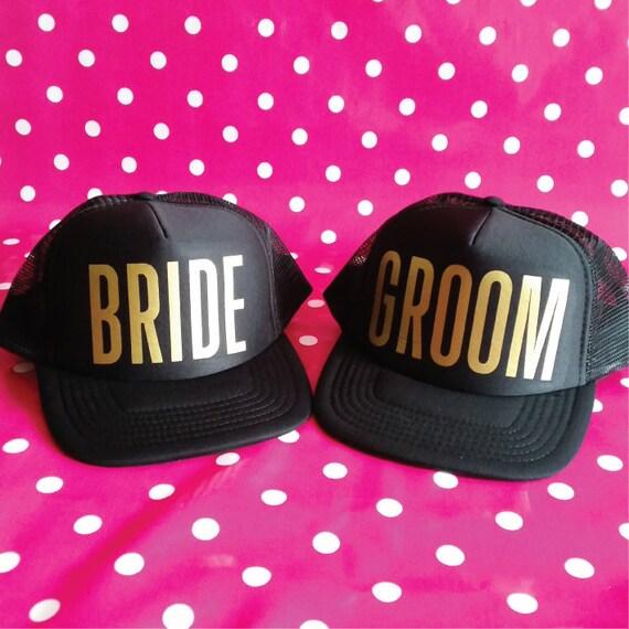 15f5d214a Set Of Bride & Groom Trucker Hats. Wedding Party Hats. Bride Hat. Groom  Hat. Wedding Gift. Snapback Trucker. Photo Prop. Bridal Shower.