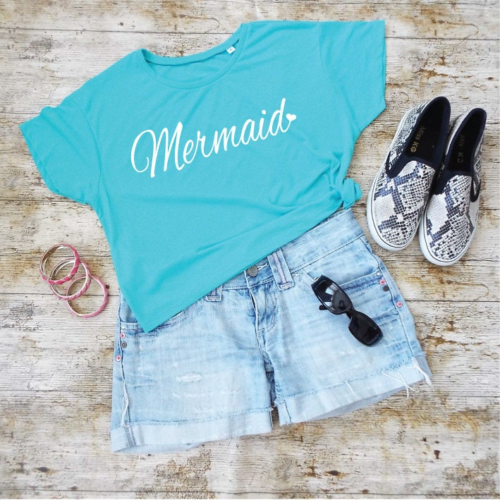 6d654b738 Mermaid Cropped Tee. Beach Shirt. Mermaid Shirt. Mermaid Top ...