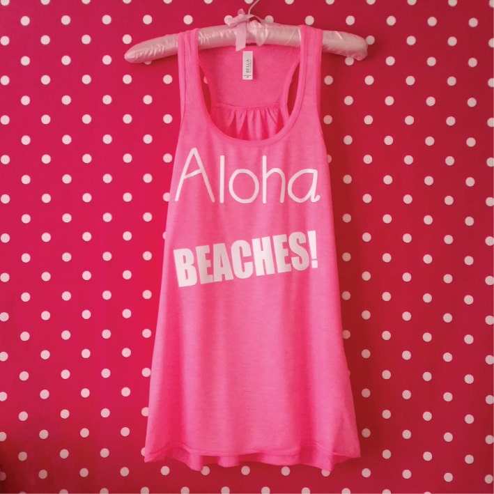 c3a3b16a55 Aloha, Beaches! Funny Tank Top. Honeymoon Women's Vest ...