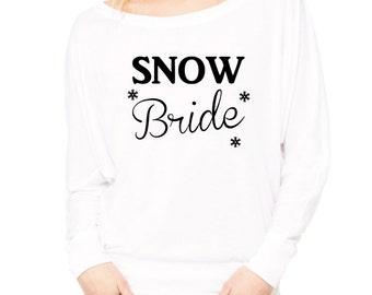 Snow Bride T-Shirt. Bride Shirt. Winter Bride Off the Shoulder Top. Christmas Bride. Bride To Be Shirt. Winter Wedding. Christmas Wedding.