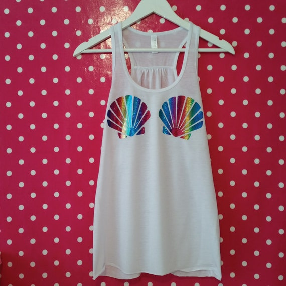 3c9a16e3b4 Rainbow Seashell Bra Tank Top. Mermaid Tank. Mermaid Top.