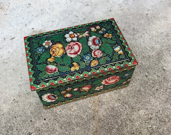 Small Vintage Floral Tin | Made in England | Floral Container Organizer