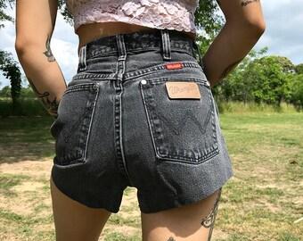Vintage Wrangler Black High Waisted Denim Cutoff Shorts   xs   small   25   26
