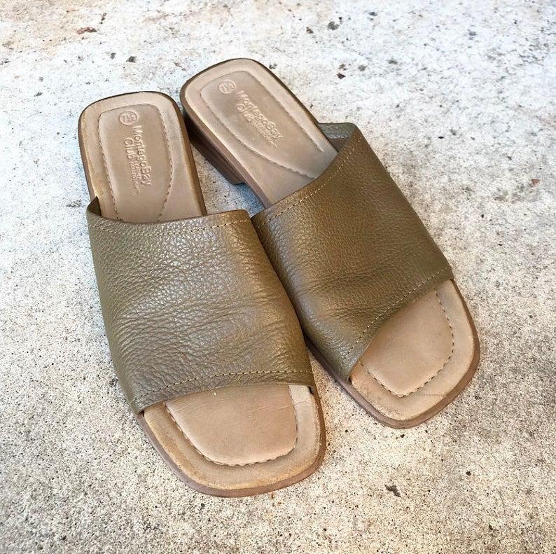 c048c6be4 Vintage Montego Bay Club Brown Leather Minimalist Mules Slip
