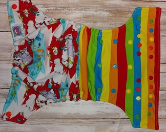 Dr Suess Horton Cat in the Hat Wonky Rainbow Cloth Diaper Cover Pocket All in One All in Two Hybrid Fitted Reusable Insert Little Lotus Buds