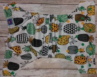 Geometric Modern Pineapple White Green Cloth Diaper Cover Pocket All in One All in Two Hybrid Fitted Reusable Insert Little Lotus Buds