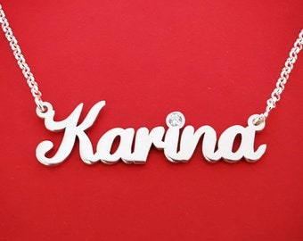 Best bridal shower gift personalized name necklace sterling silver name chain Karina name necklace Karina necklace with birthstone