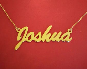 Necklace with name gold personalized name necklace 14k gold nameplate necklace Joshua Necklace Joshua Name Necklace