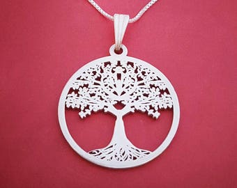 Tree of life necklace sterling silver tree necklace bodhi tree necklace yoga jewelry joshua tree necklace