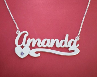 Amanda Necklace Amanda Name Necklace Personalized Silver Name Necklace Custom Best Friend Necklaces Name Necklace With Birthstones