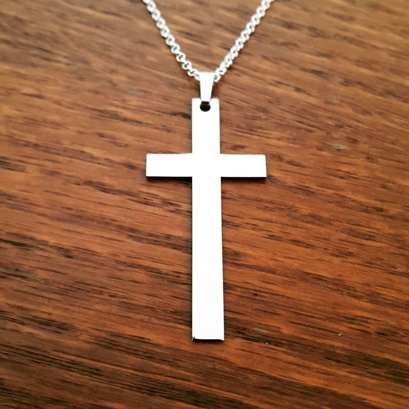 collier croix de mens croix collier pour homme en argent croix etsy. Black Bedroom Furniture Sets. Home Design Ideas