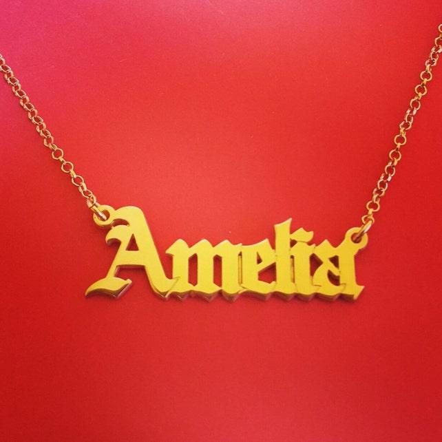 Name Halskette Gold Vermeil Name Anhänger Vermeil Name | Etsy