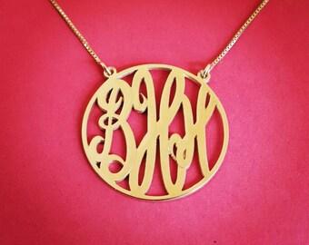 """14k Gold Monogram Necklace - Solid Gold 1.25"""" Monogram Necklace Monogrammmed Necklace Monogrammed Gold Necklace 14k Monogram Necklace"""
